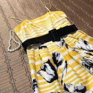 Jessica Howard dress, yellow stripes, black belt 8